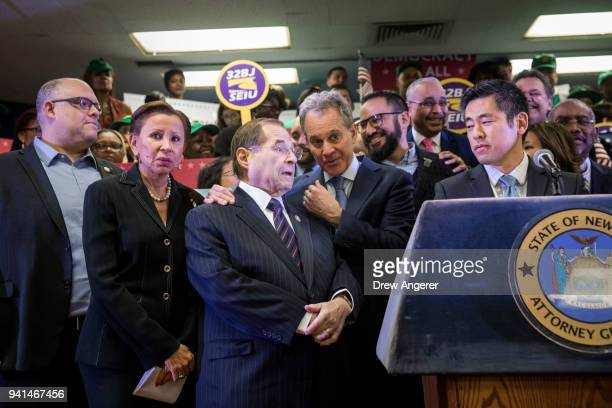 US Rep Nydia Velazquez US Rep Jerrold Nadler New York Attorney General Eric Schneiderman and Steve Choi executive director of the New York...