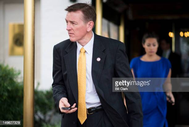 Rep Paul Gosar RAriz leaves the House Republican Conference meeting beginning at the Capitol Hill Club on Wednesday August 1 2012