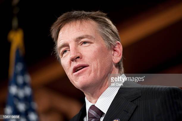 Rep Paul Gosar RAriz speaks during the news conference on ending the practice of sitting divided by party during the president's State of the Union...