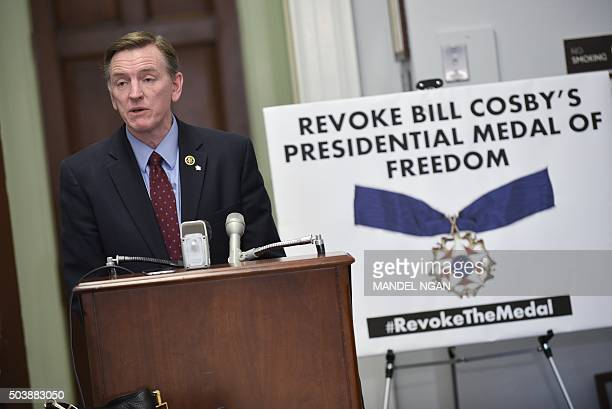 US Rep Paul Gosar RAZ speaks during a press conference on January 7 2016 to announce legislation that would revoke actor Bill Cosby's Medal of...