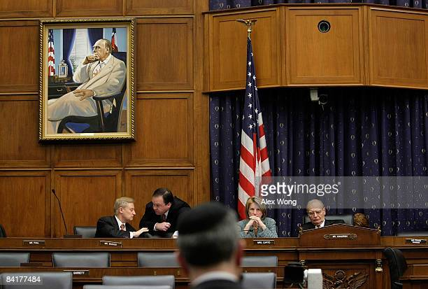 S Rep Paul Kanjorski Rep Shelley Moore Capito and Rep Spencer Bachus attend a hearing before the House Financial Services Committee on Capitol Hill...