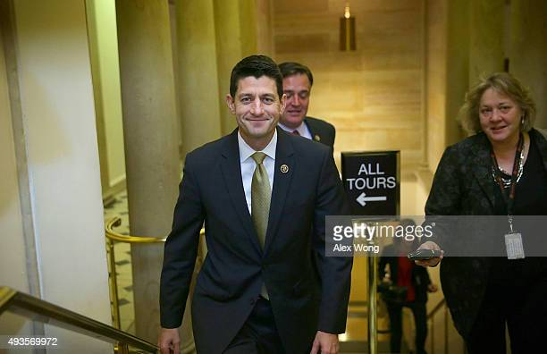 S Rep Paul Ryan leaves after a House Republican Conference meeting October 21 2015 at the Capitol in Washington DC Rep Ryan said he is open to run...