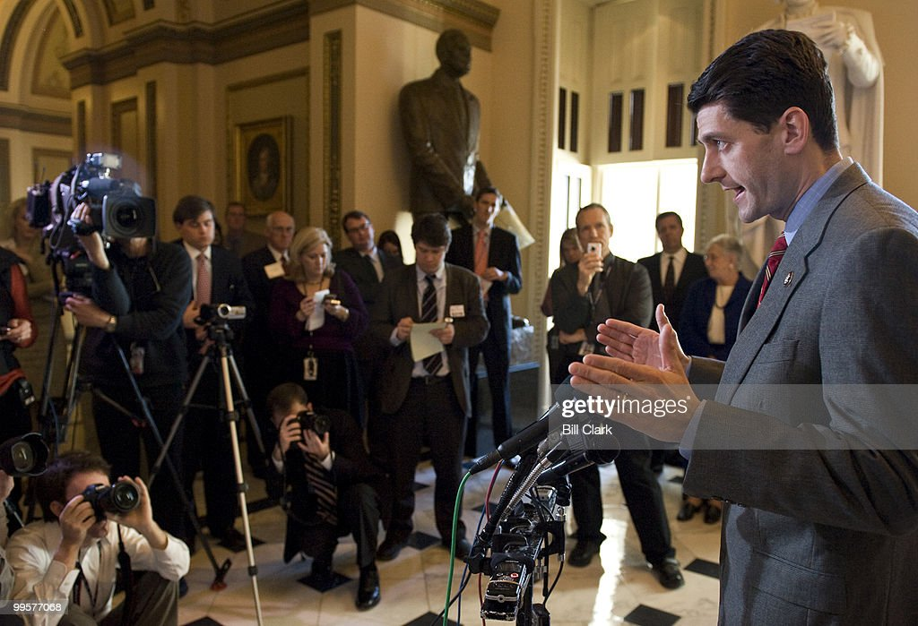 Rep. Paul Ryan, R-Wisc., holds a news conference in the Will Rogers Corridor to discuss the president's budget on Tuesday, March 24, 2009.