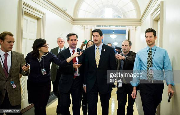 Rep Paul Ryan RWisc speaks with reporters as he leaves the news conference with media availability with Republican White House meeting participants...