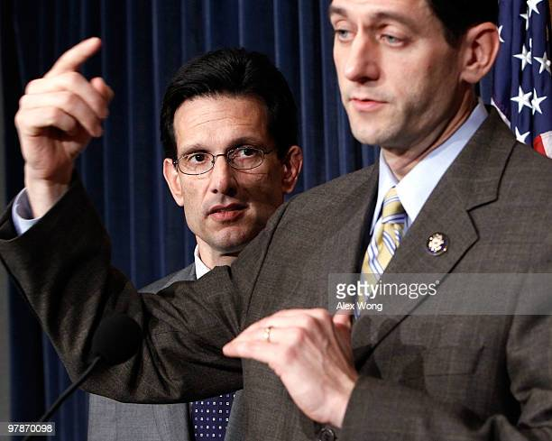 S Rep Paul Ryan speaks as House Minority Whip Rep Eric Cantor listens during a news conference on the health care legislation March 19 2010 on...
