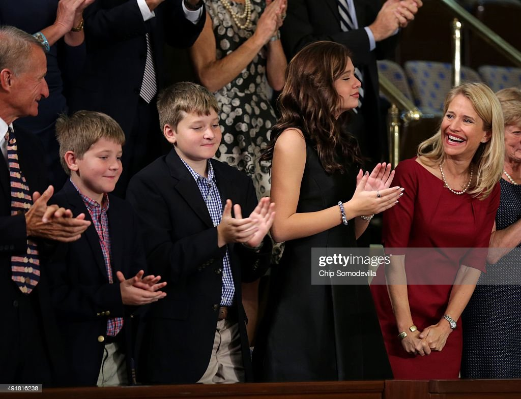 U.S. Rep. Paul Ryan's (R-WI) wife, Janna Ryan (R) and family attend the House of Representatives chamber at the U.S. Capitol October 29, 2015 in Washington, DC. The House is expected to elect Rep. Paul Ryan (R-WI) as the 62nd Speaker of the House, replacing Rep. John Boehner (R-OH), later in the day.