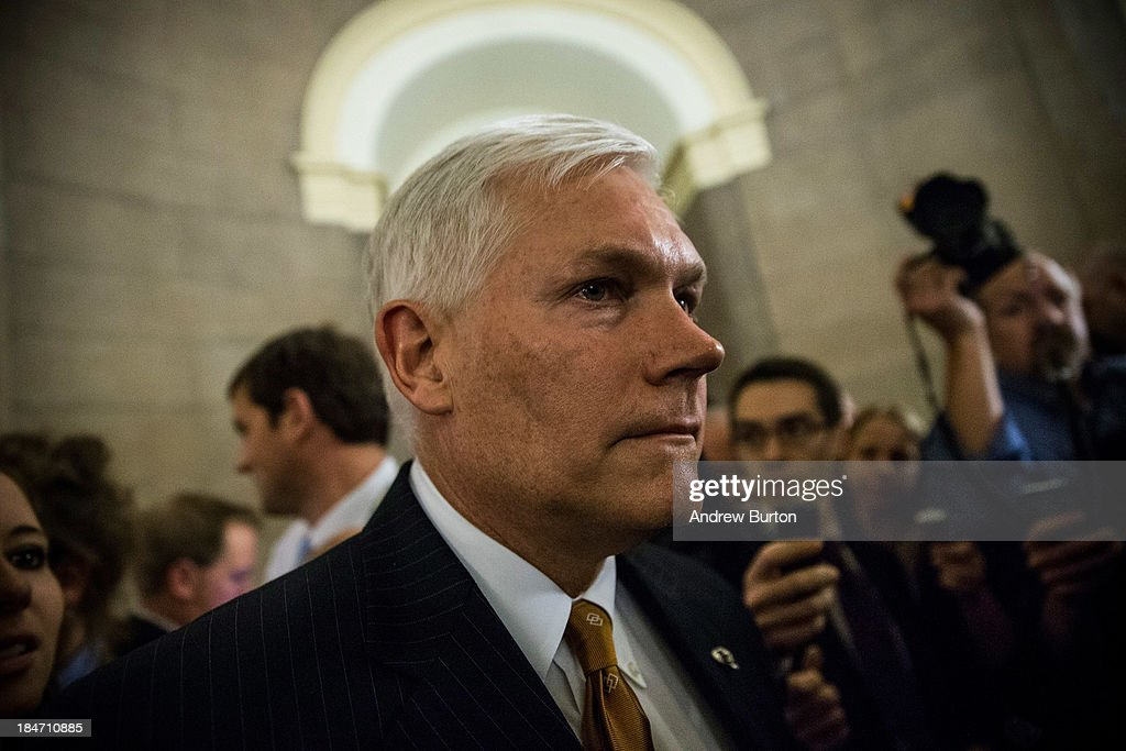 Rep. Pete Sessions (R-TX) leaves Speaker Boehner's office after a meeting amongst Republican House leadership at the Capitol Building on October 15, 2013 in Washington, DC. The government has been shut down for 14 days.