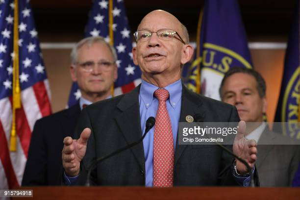 Rep Peter DeFazio talks to reporters while announcing the House Democrats' new infrastructure plan during a news conference with Rep Earl Blumenauer...