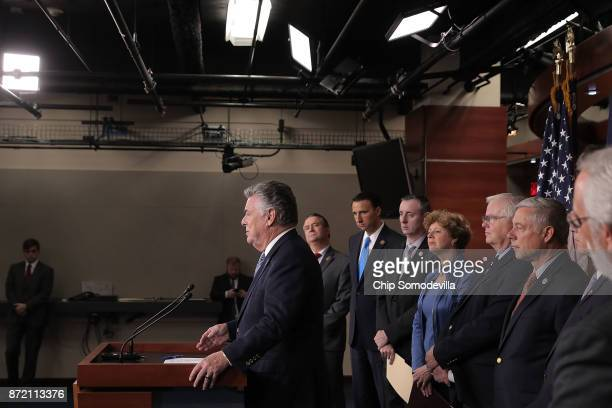 Rep Peter King is joined by fellow Republican members of Congress Rep Don Bacon Rep Ryan Costello Rep Brian Fitzpatrick Rep Susan Brooks Rep Joe...