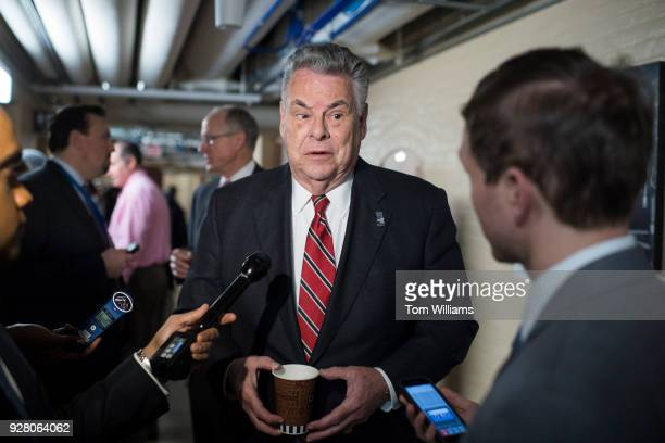 Rep Peter King RNY talks with reporters in the Capitol after a meeting of the House Republican Conference on March 06 2018
