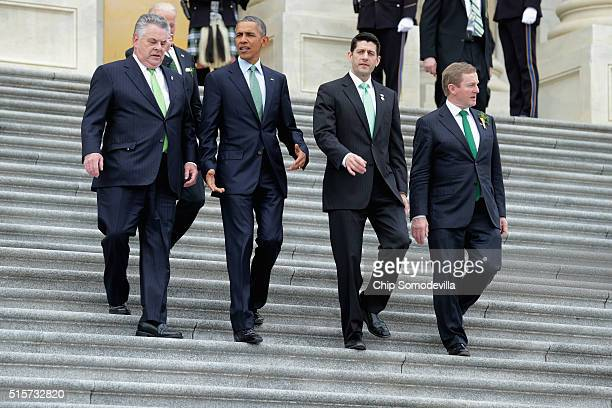 Rep Peter King US President Barack Obama Speaker of the House Paul Ryan and Irish Prime Minister or Taoiseach Edna Kenny leave the US Capitol March...