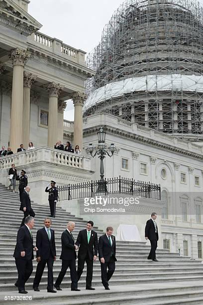 Rep Peter King US President Barack Obama Vice President Joe Biden Speaker of the House Paul Ryan and Irish Prime Minister or Taoiseach Edna Kenny...