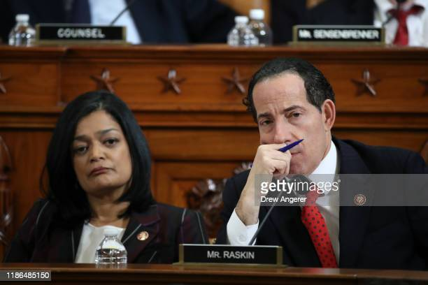 Rep. Pramila Jayapal and Rep. Jamie Raskin look on as constitutional scholars testify before the House Judiciary Committee in the Longworth House...