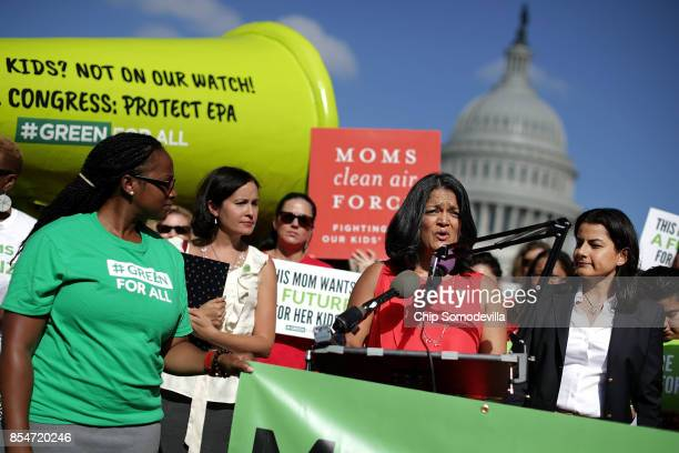 Rep Pramila Jayapal and Rep Nanette Barragan address a rally organized by Mom's Mobilize Green For All and Moms Clean Air Force on Capitol Hill...