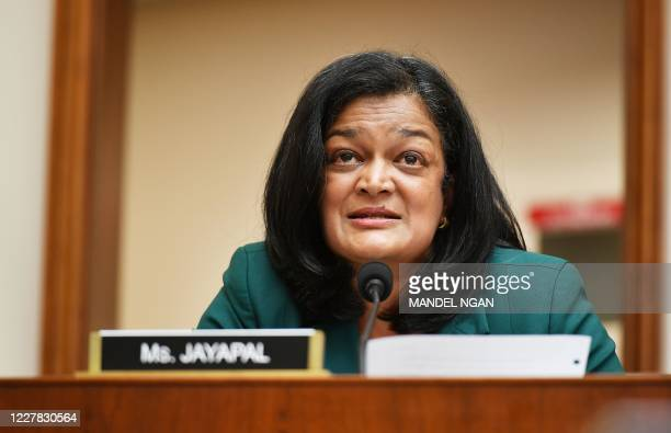 """Rep. Pramila Jayapal, D-WA, speaks during the House Judiciary Subcommittee on Antitrust, Commercial and Administrative Law hearing on """"Online..."""