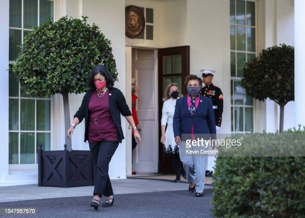 Rep. Pramila Jayapal , followed by progressive lawmakers including Rep. Barbara Lee and Rep. Debbie Dingle , walks to speak to the media following a...