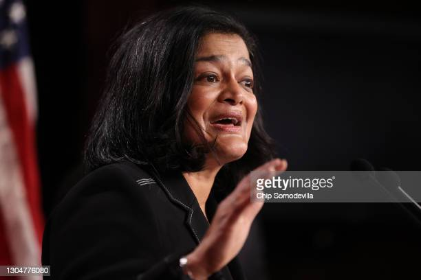 Rep. Pramila Jayapal holds a news conference to announce legislation that would tax the net worth of America's wealthiest individuals at the U.S....