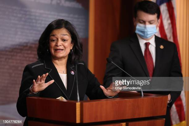 Rep. Pramila Jayapal holds a news conference with Rep. Brendan Boyle to announce legislation that would tax the net worth of America's wealthiest...