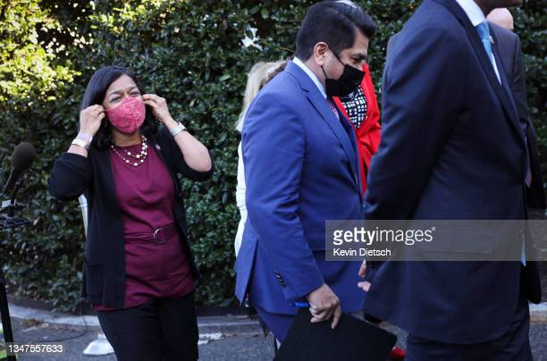 Rep. Pramila Jayapal , leaves after speaking alongside fellow progressive lawmakers following a meeting with President Joe Biden at the White House...