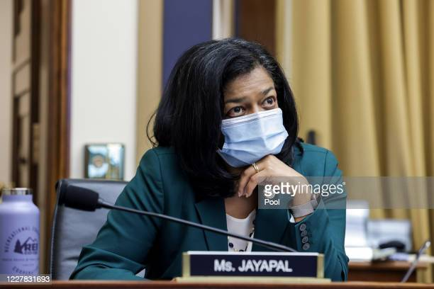 Rep. Pramila Jayapal looks on during the House Judiciary Subcommittee on Antitrust, Commercial and Administrative Law hearing on Online Platforms and...