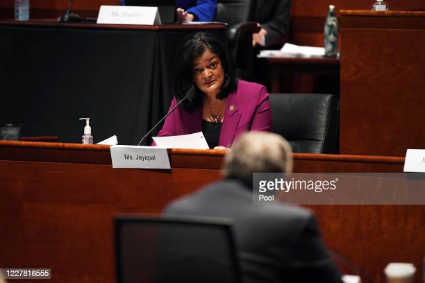 Rep. Pramila Jayapal questions Attorney General William Barr during the House Judiciary Committee on July 28, 2020 on Capitol Hill in Washington D.C....