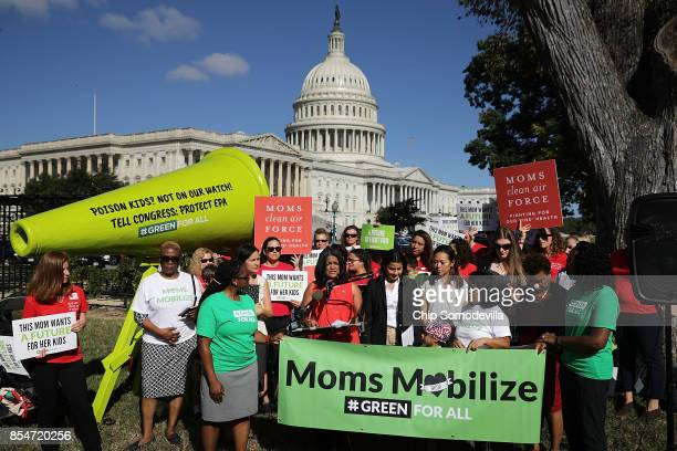 Rep Pramila Jayapal Rep Nanette Barragan and Rep Barbara Lee participate in a rally organized by Mom's Mobilize Green For All and Moms Clean Air...