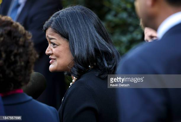 Rep. Pramila Jayapal speaks alongside fellow progressive lawmakers following a meeting with President Joe Biden at the White House on October 19,...