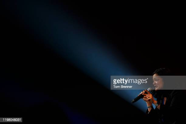 Rep. Pramila Jayapal speaks at a campaign rally for Democratic presidential candidate Sen. Bernie Sanders at the U.S. Bank Arena on February 1, 2020...