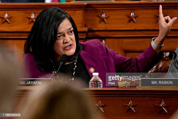 Rep. Pramila Jayapal speaks during a House Judiciary Committee markup hearing on the Articles of Impeachment against President Donald Trump at the...