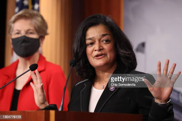 Rep. Pramila Jayapal speaks during a news conference with Sen. Elizabeth Warren to announce legislation that would tax the net worth of America's...