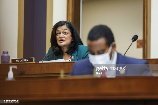 Rep. Pramila Jayapal speaks during the House Judiciary Subcommittee on Antitrust, Commercial and Administrative Law hearing on Online Platforms and...