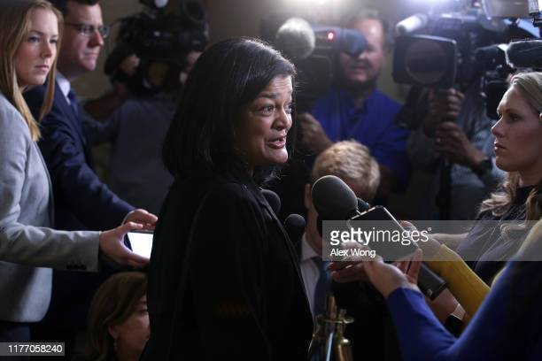 Rep. Pramila Jayapal speaks to members of the media as she arrives at a House Democratic Caucus meeting at the U.S. Capitol September 25, 2019 in...