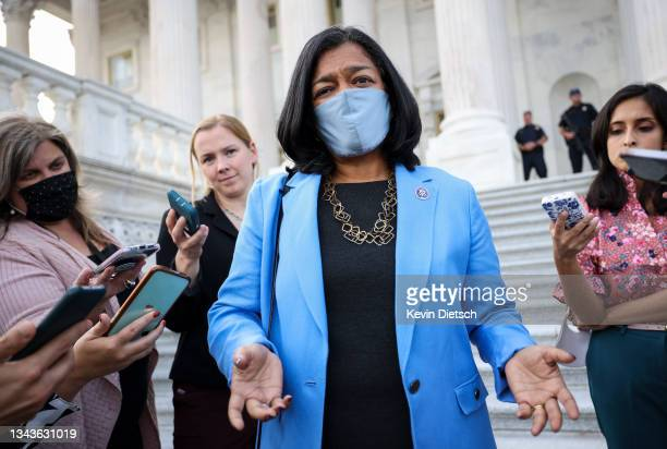 Rep. Pramila Jayapal speaks to reporters as she leaves the U.S. Capitol on September 28, 2021 in Washington, DC. Congress is currently working to...