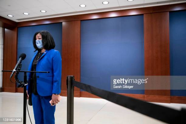 Rep. Pramila Jayapal talks to reporters outside of the Congressional Auditorium after a closed-door intelligence briefing at the U.S. Capitol on...