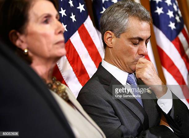 Rep Rahm Emanuel and Speaker of the House Nancy Pelsoi attend a news conference on Capitol Hill September 29 2008 in Washington DC The House failed...