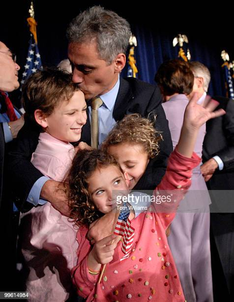 Rep Rahm Emanuel DIll hugs his kids from left Zach Leah and Ilana and Zach at the DCCC party at the Hyatt Regency on New Jersey Ave