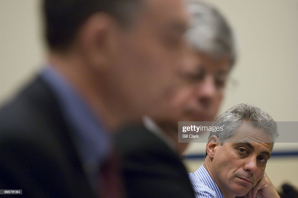 Rep. Rahm Emanuel, D-Ill., listens to opening statements from Rep. Peter Visclosky, D-Ind., and Rep. Bart Stupak, D-Mich, during the House Transportation and Infrastructure Committee's Water Resources and Environment Subcommittee hearing on Great Lakes Water Quality on Wednesday, Jan. 23, 2008. The three members testified as witnesses during the hearing.