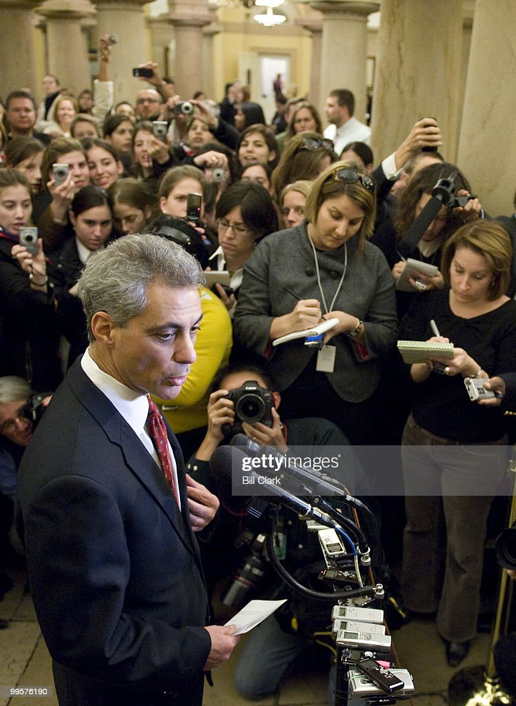 Rep. Rahm Emanuel, D-Ill., President-elect Obama's pick for White House Chief of Staff, stops to talk to reporters in the Crypt of the U.S. Capitol on Thursday, Nov. 20, 2008.