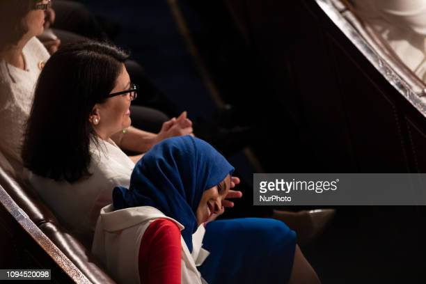 Rep Rashida Tlaib and Rep Ilhan Omar react as US President Donald Trump delivers his second State of the Union address to a joint session of Congress...