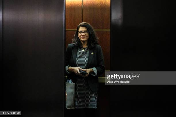 Rep. Rashida Tlaib departs after a closed session before the House Intelligence, Foreign Affairs and Oversight committees on Capitol Hill on October...