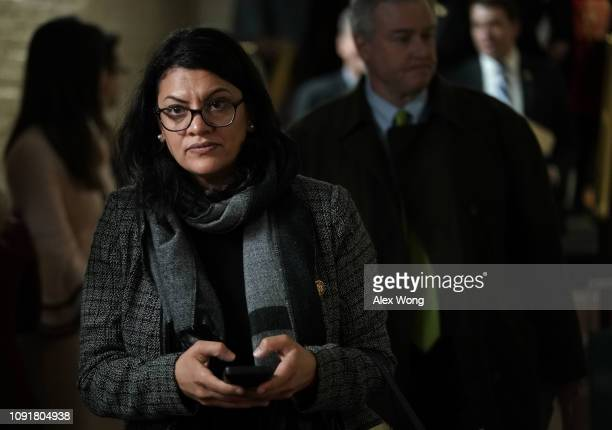Rep. Rashida Tlaib leaves after a caucus meeting at the U.S. Capitol January 9, 2019 in Washington, DC. House Democrats gathered to discuss the...