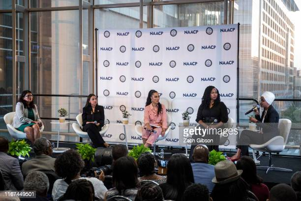 Rep Rashida Tlaib Rep Alexandria OcasioCortez Rep Ayanna Pressley and Rep Ilhan Omar participate in a town hall hosted by the NAACP moderated by CNN...