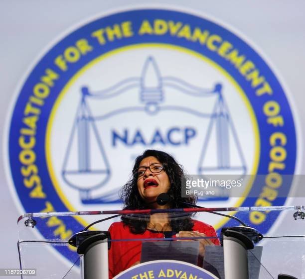 Rep. Rashida Tlaib speaks at the opening plenary session of the NAACP 110th National Convention at the COBO Center on July 22, 2019 in Detroit,...