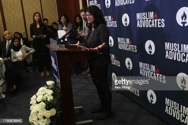 Rep. Rashida Tlaib speaks during a congressional Iftar event at the U.S. Capitol May 20, 2019 in Washington, DC. Muslims around the world are...