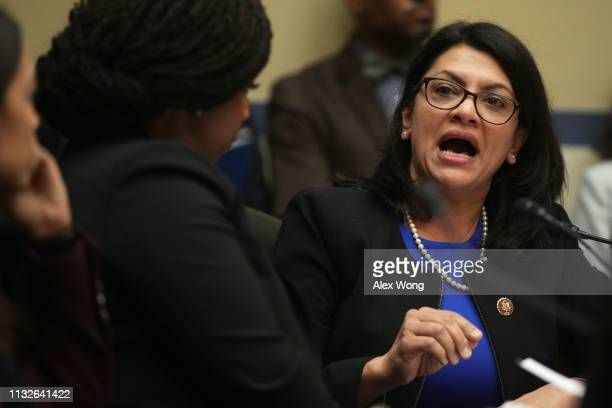 S Rep Rashida Tlaib speaks during a hearing as Michael Cohen former attorney and fixer for President Donald Trump testifies before the House...