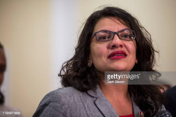 Rep. Rashida Tlaib speaks during a press conference preceding a House Oversight and Reform subcommittee hearing on Capitol Hill on July 10, 2019 in...
