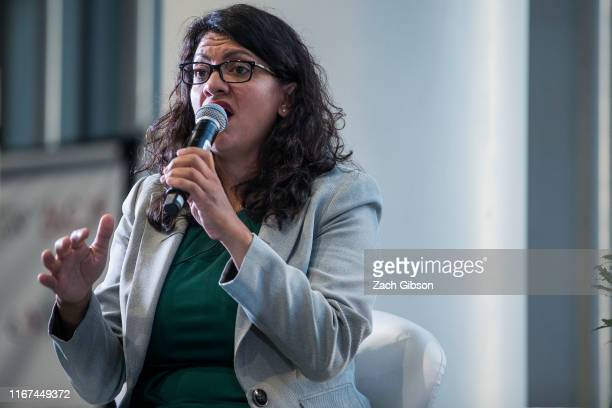 Rep. Rashida Tlaib speaks during a town hall hosted by the NAACP on September 11, 2019 in Washington, DC. The congresswomen talked about their...
