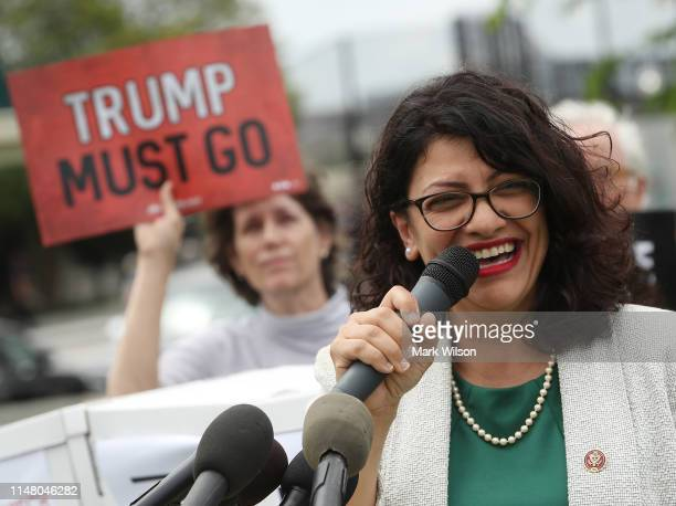 Rep. Rashida Tlaib speaks during an event with activist groups to deliver over ten million petition signatures to Congress urging the U.S. House of...