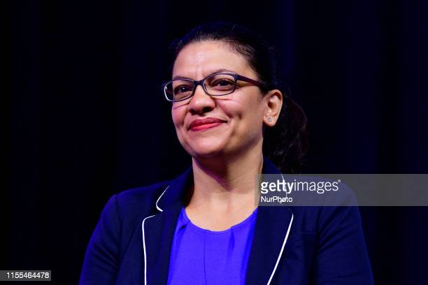 Rep. Rashida Tlaib takes part in a panel discussion led by Aimee Allison, touching the changes of the face of power in the United States after a...
