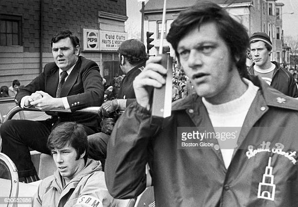 Rep Ray Flynn of Mass back left participates in a peaceful antibusing march on G Street moving towards South Boston High School on Feb 29 1976 An...
